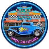 Retro Hot Rod Drive In 50's Metal Wall Sign
