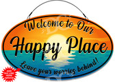 Happy Place Cottage Welcome Sign