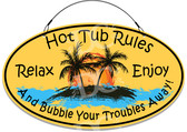 Hot Tub Rules Yellow Welcome Sign