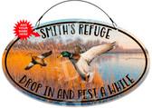 Ducks Refuge Metal Hanging Welcome Sign