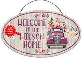 Front Door Floral Truck Themed Welcome Sign