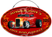 Hot Rod Garage Red Background Sign -  Customized