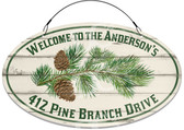 Pine Branch Rustic Cabin Welcome Sign - Customized