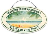 Ocean Breeze Font Door Welcome Sign - Customized