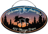 Moose Cabin Rustic Themed Welcome Sign Sunrise