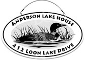 Loon Lake Cottage Themed Welcome Sign Black & White