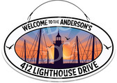 Lighthouses Themed Welcome Sign - White Background
