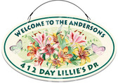 Garden Lilies Themed Welcome Sign - Customized
