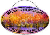 Fall Foliage Forest Welcome Sign - Purple