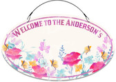 Watercolor Flower Garden Welcome Sign - Customized