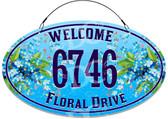 Blue Hydrangeas Flower Garden Welcome Address Sign - Customized