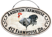 Farmhouse Country Welcome Address Sign - Rooster