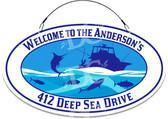 Deep Sea Fishing Home Address Sign - Customized