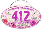 Butterfly Garden Flowers Welcome Sign - Purple