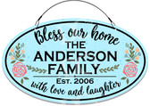 Bless Our Home Floral Welcome Sign - Teal