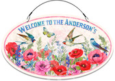 Garden Birds In Bloom Welcome Sign - Red