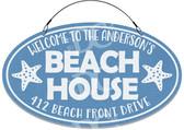 Beach House Sand Dollar Welcome Sign - Blue