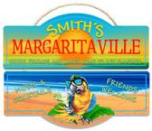 Decorative Tiki Bar Margarita Parrot Hanging Wall Sign