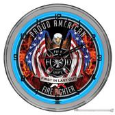 """American Firefighter Light Up 16"""" Neon Wall Clock  Blue"""