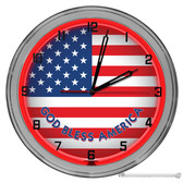 """American Flag God Bless America Light Up 16"""" Neon Wall Clock  Red"""