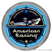 "American Drag Racing Light Up 16"" Neon Wall Clock Blue"