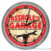 """Assholes Garage Light Up 16"""" Neon Wall Clock Red"""