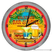 "Backyard Bar & Grill Light Up 16"" Neon Wall Clock - Red"