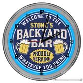 """Backyard Bar Light Up 16"""" Neon Wall Clock - Blue"""