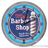 """Barber Shop Light Up 16"""" Neon Wall Clock - Blue"""