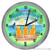 "Beer Beach Paradise Light Up 16"" Neon Wall Clock - Green"