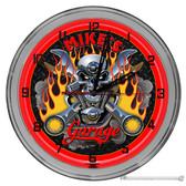 """Biker Garage Light Up 16"""" Neon Wall Clock - Red"""