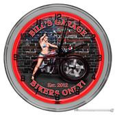 """Patriotic Biker Garage Light Up 16"""" Red Neon Wall Clock"""