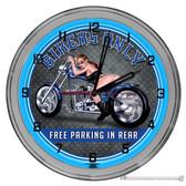 """Biker Parking Light Up 16"""" Blue Neon Wall Clock"""