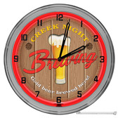 """Beer Brewery Light Up 16"""" Red Neon Wall Clock"""