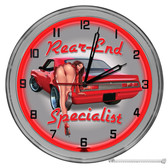 """Auto Mechanic Rear End Specialist Light Up 16"""" Red Neon Wall Clock"""
