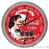 "Vintage Coca-Cola Diner Light Up 16"" Red Neon Wall Clock"
