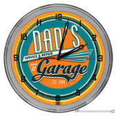 "Dad's Vintage Garage Light Up 16"" Orange Neon Wall Clock"