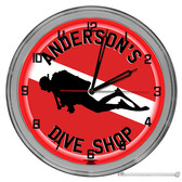 """Dive Shop Light Up 16"""" Red Neon Wall Clock  - Customized"""