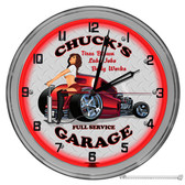 """Auto Repair Shop Light Up 16"""" Red Neon Wall Clock - Customized"""