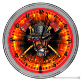 "Firefighter Helmet Light Up 16"" Red Neon Wall Clock"