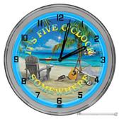 "Beach Bar Five O'clock Somewhere Light Up 16"" Blue Neon Wall Clock"