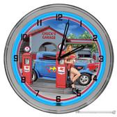 "Full Service Gas Station Light Up 16"" Blue Neon Garage Wall Clock"