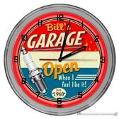 "Vintage Mechanic Custom Light Up 16"" Red Neon Garage Wall Clock"