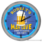 "Beer Themed Man Cave Light Up 16"" Blue Neon Garage Wall Clock"