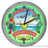 "Margarita Bar Light Up 16"" Green Neon Garage Wall Clock"