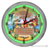 """Parrot Tiki Bar Light Up 16"""" Green Neon Garage Wall Clock"""