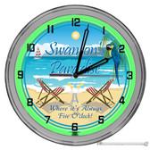"""Paradise Beach Bar Always Five O'clock Light Up 16"""" Green Neon Garage Wall Clock"""