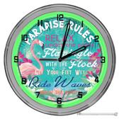 "Flamingo Paradise Rules Tiki Bar Light Up 16"" Green Neon Wall Clock"