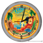 "Paradise Welcome Personalized Tiki Bar Light Up 16"" Orange Neon Wall Clock"