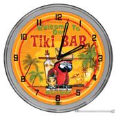 "Tequila Parrot Tiki Bar Light Up 16"" Orange Neon Wall Clock"